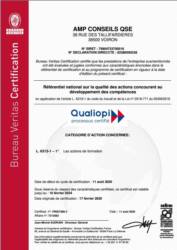 Certificat QUALIOPI 2024